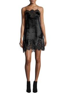 Alice + Olivia Charice Short A-line Lace/Velvet Cocktail Slip Dress