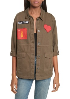Alice + Olivia AO x The Beatles Charline Oversize Patch Military Jacket