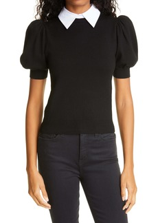 Alice + Olivia Chase Puff Sleeve Wool Blend Sweater with Removable Collar