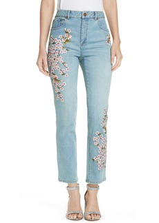 Alice + Olivia Cherry Blossom Embroidery High Rise Slim Jeans (Sweet Emotion)