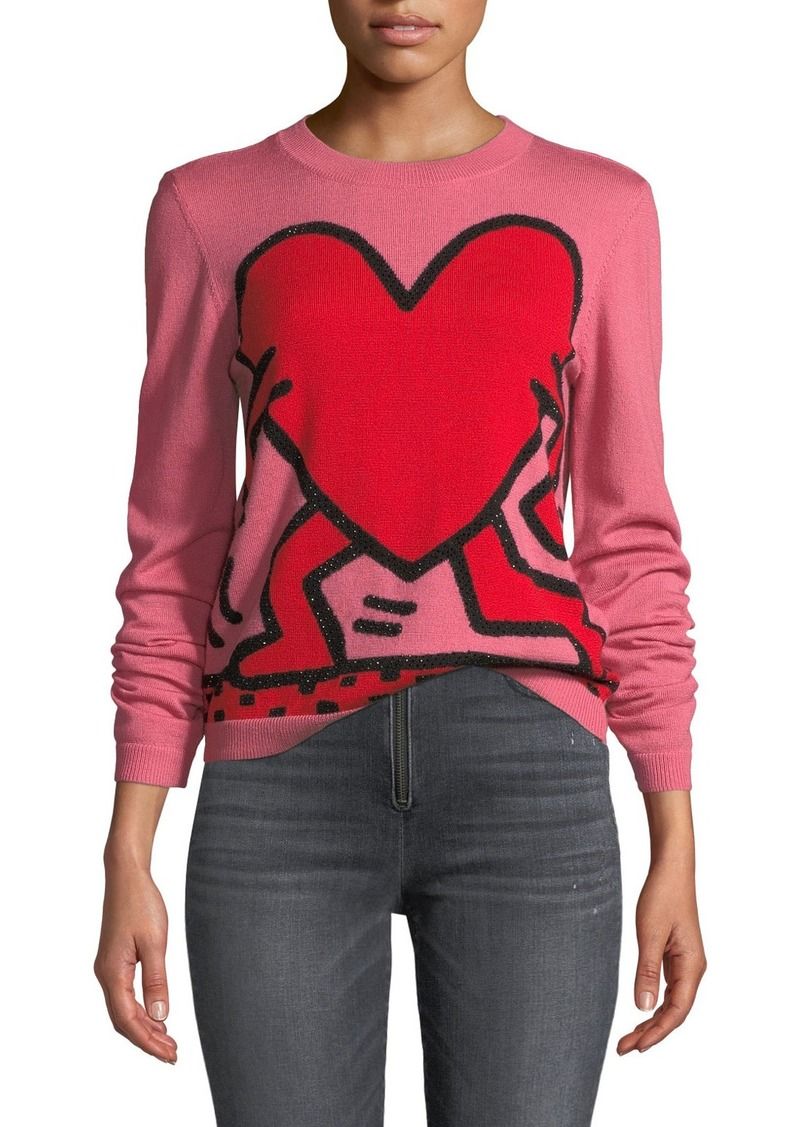 Alice + Olivia Chia Relaxed Intarsia Crewneck Pullover Sweater