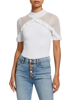 Alice + Olivia Chiara Mock-Neck Ruffle Top