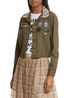 Alice + Olivia Chloe Embellished Crop Military Jacket