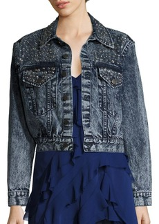 Alice + Olivia Chloe Embellished Cropped Denim Jacket
