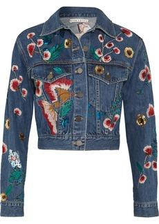 Alice + Olivia Chloe embroidered sequined denim jacket