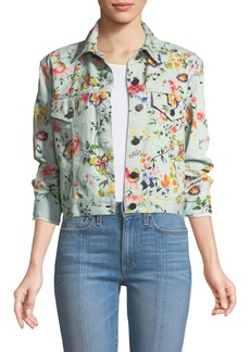 Alice + Olivia Chloe Floral-Print Cropped Denim Jacket