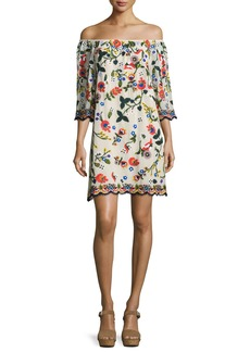 Alice + Olivia Christiana Embroidered Off-the-Shoulder Dress