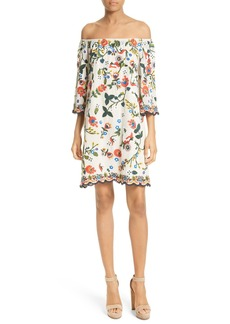 Alice + Olivia Christiana Off the Shoulder Shift Dress
