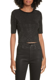 Alice + Olivia Ciara Crystal Studded Crop Sweater