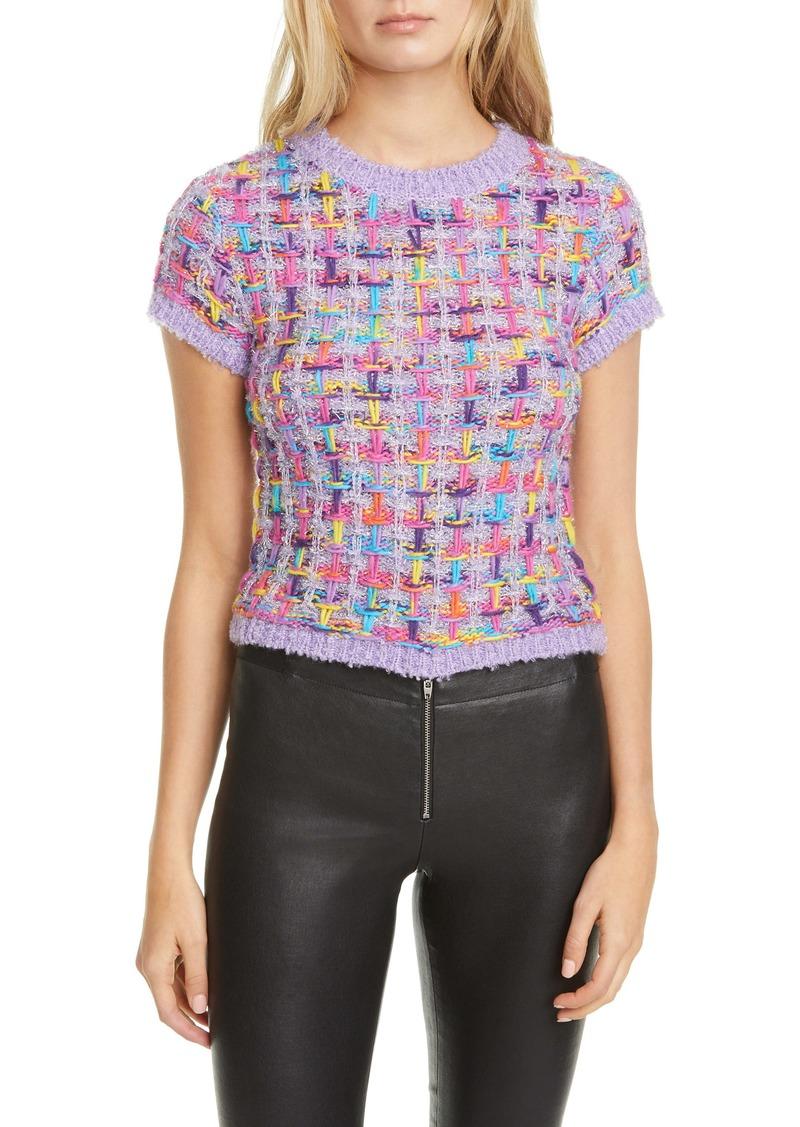 Alice + Olivia Ciara Metallic Tweed Short Sleeve Crop Sweater