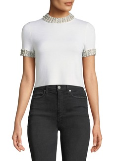 Alice + Olivia Ciara Mock-Neck Short-Sleeve Fitted Cropped Sweater