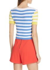 Alice + Olivia Ciara Stripe Short Sleeve Crop Sweater