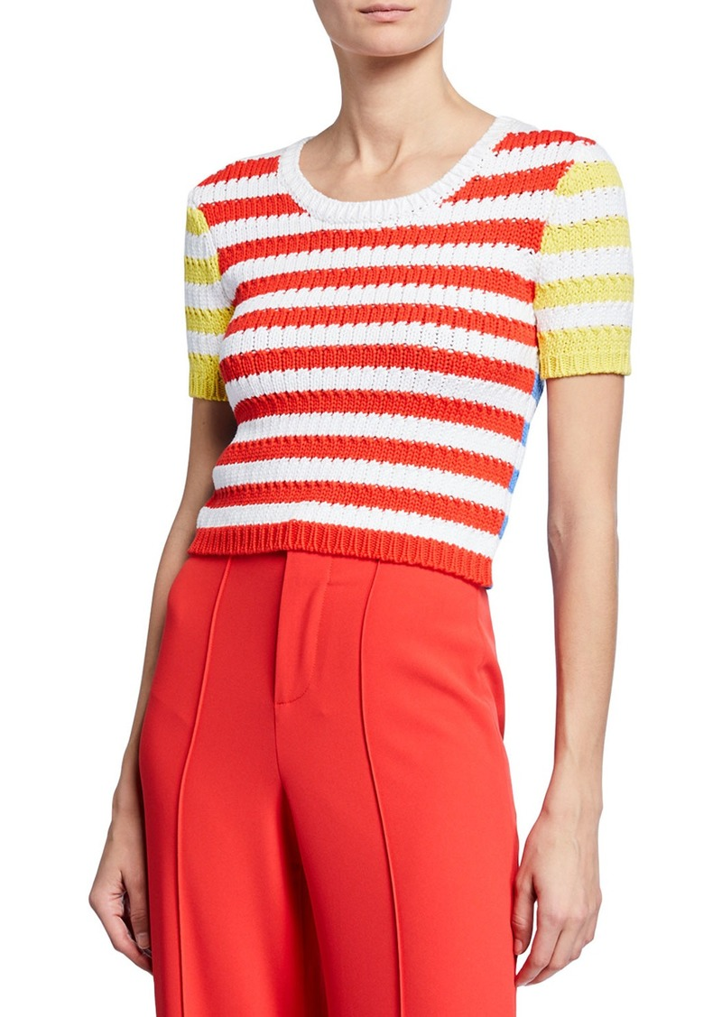 Alice + Olivia Ciara Striped Short-Sleeve Cropped Cable Sweater