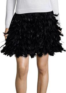 Alice + Olivia Cina Feathered Flared Mini Skirt