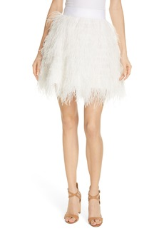 Alice + Olivia Cina Ostrich Feather Skirt