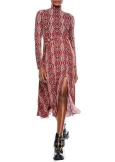 Alice + Olivia Clare Bandana Print Long Sleeve Belted Knit Midi Dress