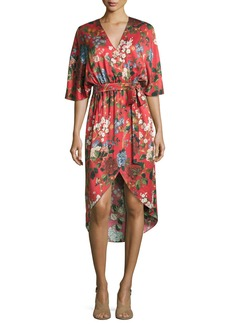 Alice + Olivia Clarine Floral-Print Silk Wrap Dress
