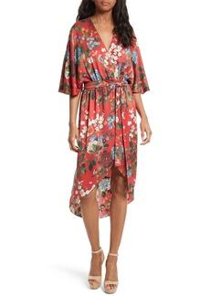 Alice + Olivia Clarine Floral Silk Wrap Dress
