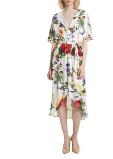 Alice + Olivia Clarine Floral Wrap Midi Dress