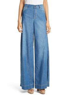 Alice + Olivia Clarissa Side Slit Wide Leg Jeans
