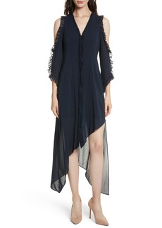 Alice + Olivia Claudie Ruffle Button-Down Maxi Dress