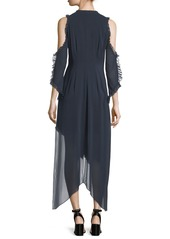 Alice + Olivia Claudie V-Neck Cold-Shoulder Chiffon Maxi Dress with Ruffled Trim