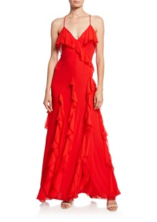 Alice + Olivia Claudine Ruffle High-Slit Gown