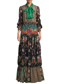 Alice + Olivia Clementine Tie-Neck Long-Sleeve Tiered Printed Maxi Dress