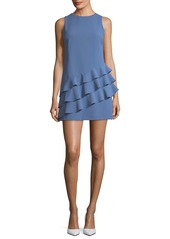Alice + Olivia Clive Asymmetric Ruffle Sleeveless A-line Dress