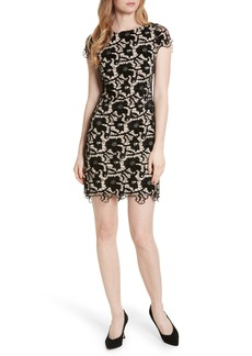 Alice + Olivia Clover Floral Embroidered Velvet Dress