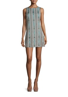 Alice + Olivia Clyde Embellished Cotton Shift Dress