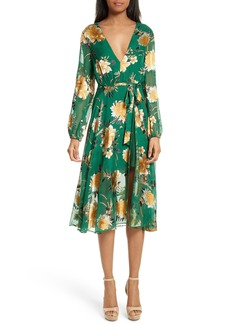 Alice + Olivia Coco Floral Print A-Line Dress