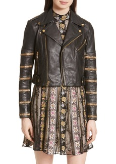 Alice + Olivia Cody Embellished Leather Moto Jacket
