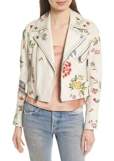 Alice + Olivia Cody Embroidered Crop Leather Jacket