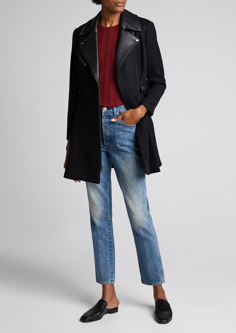 Alice + Olivia Cody Leather-Trim Midi Coat