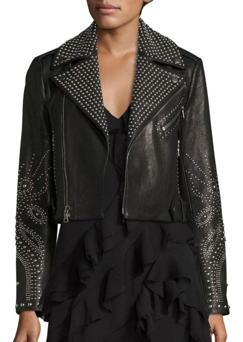 Alice + Olivia Cody Studded Leather Moto Jacket