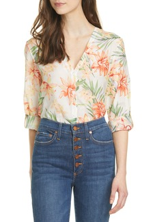 Alice + Olivia Colby Floral Print Cotton & Silk Blouse