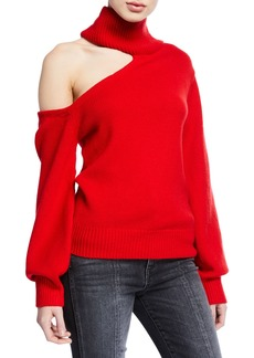 Alice + Olivia Cold-Shoulder Wool Turtleneck Sweater