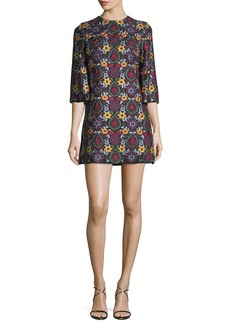 Alice + Olivia Coley Crewneck Bell-Sleeve Embroidered Dress