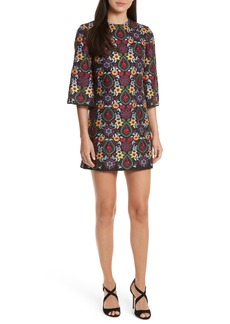 Alice + Olivia Coley Embroidered Bell Sleeve Dress