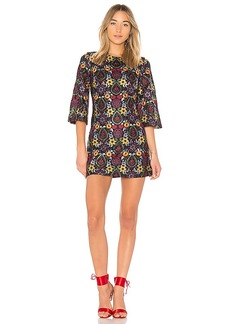 Alice + Olivia Coley Embroidered Bell Sleeve Dress in Black. - size 0 (also in 2,4,6)