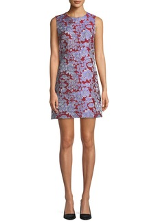 Alice + Olivia Coley Sleeveless Floral Crewneck Mini Dress