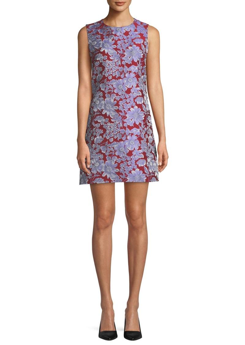 Alice + Olivia Coley Sleeveless Floral Crewneck Mini Dress