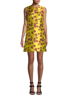 Alice + Olivia Coley Sleeveless Floral-Jacquard A-Line Dress