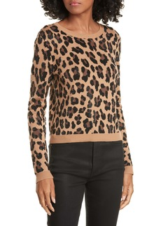 Alice + Olivia Connie Animal Print Stud Detail Stretch Wool Sweater
