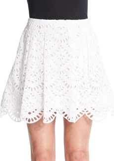 Alice + Olivia Connor Pleated Eyelet Skirt