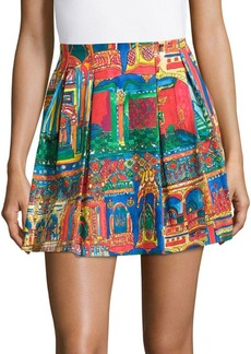 Alice + Olivia Connor Printed Pleated Skirt