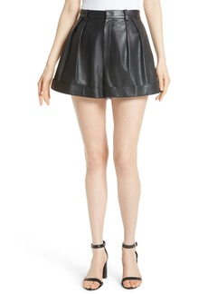 Alice + Olivia Conry Leather Pleated Cuff Shorts