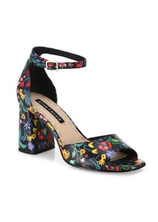 Alice + Olivia Cooper Floral Leather Block Heel Sandals