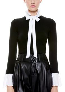 Alice + Olivia Cornelia Tie Neck Pullover